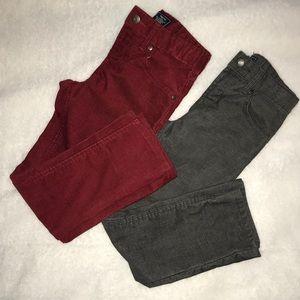 Bundle 2 pair Gap Boys Corduroy dark gray & red